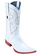 LOS ALTOS WHITE GENUINE OSTRICH LEG 3X TOE WESTERN COWBOY BOOT EE