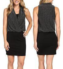 Karen Kane 4N94805 Black/Silver Metallic Drape Front Stretch Jersey Dress - $128