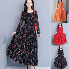 2019 Women Floral Beach Dress Long Sleeve Casual Party Vintage Boho Maxi Dress