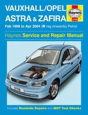 Manuale Haynes VAUXHALL ASTRA ZAFIRA 98-04 BENZINA OFFICINA RIPARAZIONE BOOK 3758