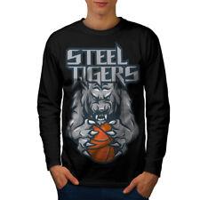 Wellcoda Tiger Basketball Mens Long Sleeve T-shirt, Basketball Graphic Design