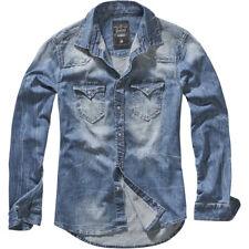 Brandit Riley Camisa Hombre Top Manga Larga Viaje Trabajo Moda Chaqueta Azul