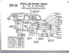1951 1952 1953 DODGE TRUCK 1/2 3/4 1 TON EXTERIOR BODY PARTS DIAGRAM SHEETS WM