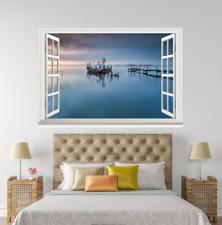 3D barco Río Azul 027 ventanas abiertas impresión de pared de papel pintado wandbilder AJ Jenny