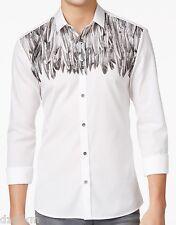 NWT HUGO (Hugo Boss Red Label) by Hugo Boss Slim Fit Feather Print Cotton Shirt