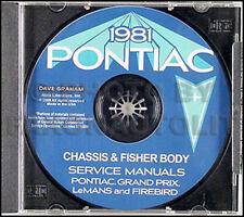 1981 Pontiac Shop Manual and Body Repair CD Trans Am Firebird Bonneville LeMans