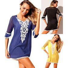 Crochet pom trim beach tunic cover up dress sexy summer women lace swimwear