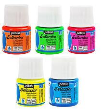 Pebeo setacolor Luz Tela Textil Pintura 45ml Ollas-Fluorescente Neon Colores