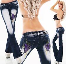 Crazy Age Purple Butterflies Bootcut Jeans - XS/S/M/L/XL