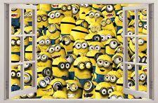 WANDAUFKLEBER FENSTER 3D MINIONS Wand Dekor Aufkleber Wandtattoo 13