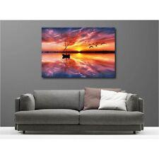 Quadro tela decocrazione rettangolare tramonto tramonto barca 55336516