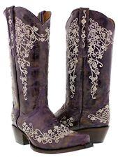 Women's Purple Abilene Leather Western Cowboy Boots Rhinestones Rodeo Cowgirl