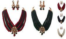 Traditional Indian Bridal Bollywood Wedding Pearls Kundan Fashion Jewelry Set