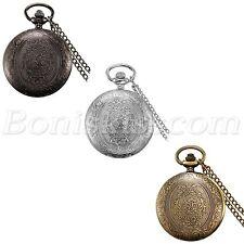 Vintage Antique Patterned 24H Arabic Numberals Dial Quartz Pocket Watch Necklace