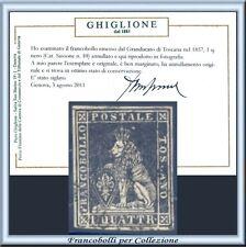 FAI IL PREZZO ASI 1857 Toscana 1 q. nero n. 10 Usato Certificato Antichi Stati