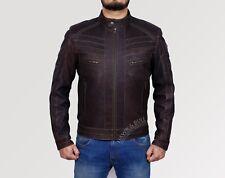 Men Designer Leather Jacket Biker Motorcycle Snuff Brown Cafe Racer Vintage