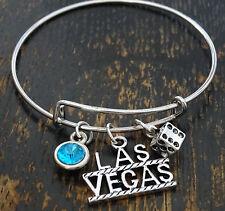 PERSONALIZED Las Vegas Bangle Bracelet - choose a Birthstone