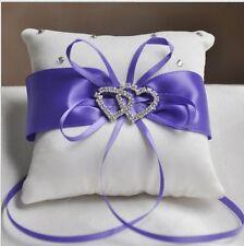 Wedding Cusion Pillow Ceremony Ring Bearer Royal White Ribbon Decor Decoration