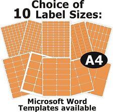 Fluo Orange Laser Copieur Inkjet Étiquettes 5 A4 Feuilles Stickers Autocollants