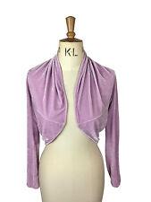 Baylis Knight Lilac Velvet Long Sleeve BOLERO Cardigan Wrap Stole Shrug