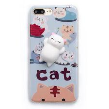 for iPhone 7 7 Plus Case Squishy Cute Cat 3D Soft Silicone TPU Phone Back