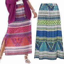 Ladies UK Plus Size 8-18 long Indian Paisley Skirt in pink/purple or Blue/green