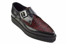Zapatos de Cuero tierra De Acero Negro Rojo Leopardo Pelo Creepers Monje Hebilla Puntiagudo