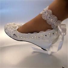 Su.cheny Weiß Elfenbein Keilabsatz Perlen Spitze Band Fußkette Hochzeit Pumps