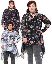 Women Ladies Floral Printed Chiffon Dip Hem Long Sleeve Collar Top Shirt 14-28
