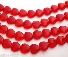 50 6x6 mm Czech Glass Heart Beads: Siam/Ruby