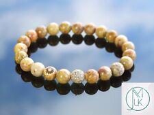 Chrysanthemum Gold Micro Pave Natural Gemstone Bracelet 6-9'' Elasticated Chakra