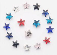 50PCS Mixed colors Glass Rhinestone Star Stone W/Setting Beads 10mm #95330