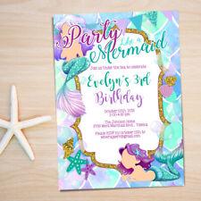 Mermaid Birthday Party Invitation - Mermaid Glitter Glam Theme - Personalized