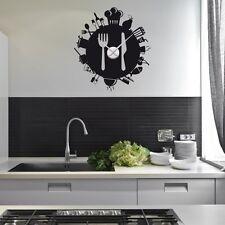 Sticker mural Horloge géante COUVERTS ET ALIMENTS  +mécanisme aiguilles