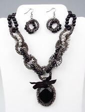BELLISSIMO Nero Cristallo Perle Cristalli ANTICO catenine Set orecchini collana