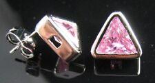 Platinum PT Pink Triangle Zircon Crystal Earrings Studs