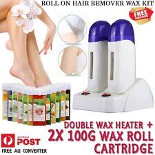 Roll on Wax Heater Double Depilatory Hair Removal Hot Waxing Kit & 2x Cartridge