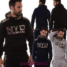 Männer Pullover anzug abzugshaube jersey einsätze getupft sport fitness M5027