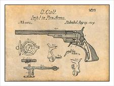 1839 Samuel Colt Paterson Holster Revolver Patent Print Art Drawing Poster 18X24