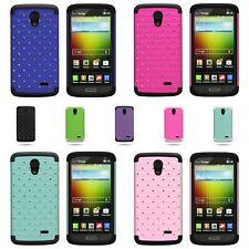 For LG Lucid 3 - Dual Layer Hybrid Diamond Studded Bling Phone Cover Case