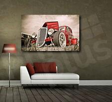 Red Retro Classic Automobile Car Canvas Fine Art Poster Print Home Wall Decor