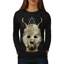 Wellcoda Devil Goth Satan Horror Womens Long Sleeve T-shirt, Dark Casual Design