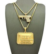 """Pave Gun, Glizzy Gang Pendant 24"""", 30"""" Box Chain Hip Hop Fashion Necklace Set"""