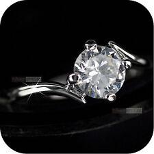 18K WHITE GOLD GP MADE WITH SWAROVSKI CRYSTAL WEDDING BRIDAL RING US 6.5 AU N