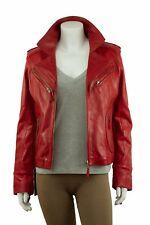 Ladies Red Napa Slim Tight Fitted Short Biker Leather Jacket Bike Rock Fashion