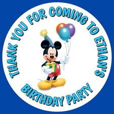 MICKEY Mouse Festa Di Compleanno Personalizzati Gloss Goody Sacchetto, dolce cono Adesivi