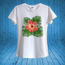 Hibiscus tropical fleur été T  - shirt 100% coton unisexe femmes