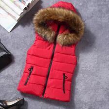 Womens Cotton Vest Padded Jacket Hooded Sleeveless Tank Top Vests Waistcoat Coat