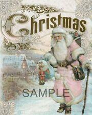Fabric Art Quilt Block *Pink Santa Collage* Christmas - Cotton 15-174
