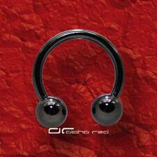 »»» HUFEISEN PIERCING RING Kugel TITAN schwarz 5 Größen SEPTUM AUGE usw. 3820